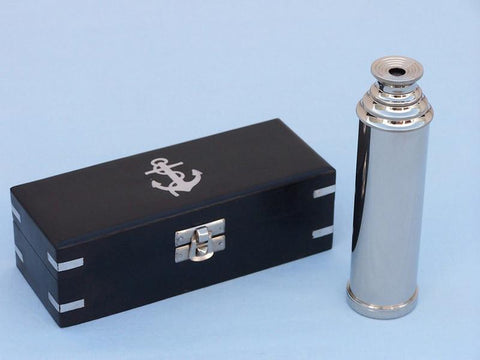 "Handcrafted Model Ships FT-0224N Captain's Chrome Spyglass Telescope 14"" with Black Rosewood Box - Peazz.com"