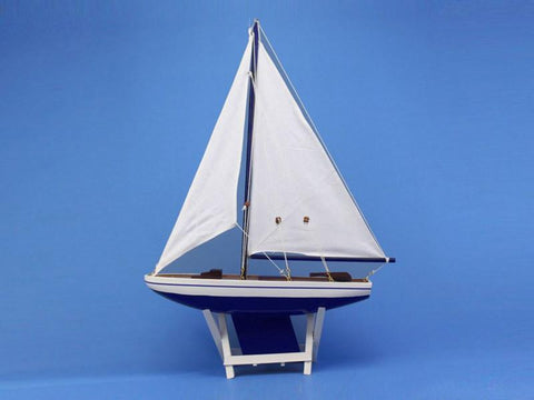 "Handcrafted Model Ships it-floats-blue-21 It Floats Blue 21"" - White Sails - Peazz.com"