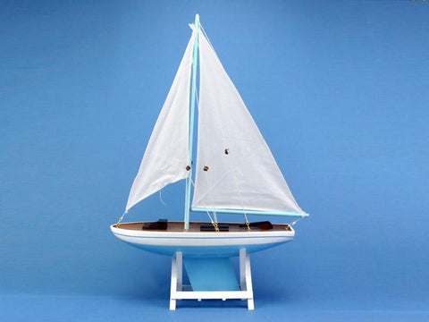 "Handcrafted Model Ships it-floats-light-blue-21 It Floats Light Blue 21"" - White Sails - Peazz.com"