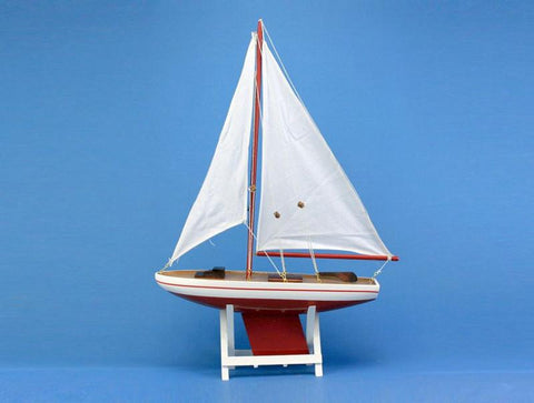 "Handcrafted Model Ships it-floats-red-21 It Floats Red 21"" - White Sails - Peazz.com"