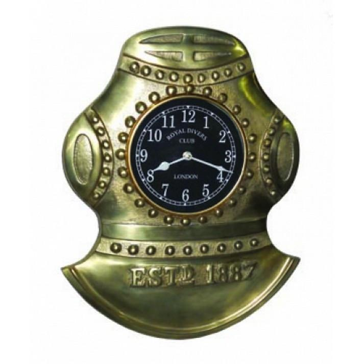 Handcrafted Model Ships MD-140 Antique Solid Brass Divers Helmet Clock 17