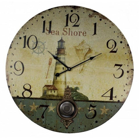"Handcrafted Model Ships MD-163 Wooden Vintage Lighthouse Sea Shore Clock 23"" - Peazz.com"
