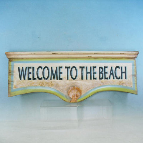 "Wooden Welcome to the Beach Wall Plaque 25"" - Peazz.com"