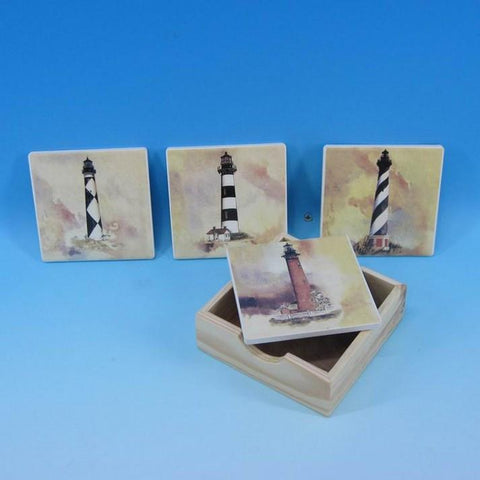 "Handcrafted Model Ships Y-41082 Ceramic Lighthouse Coaster 4"" - Set of 4 - Peazz.com"