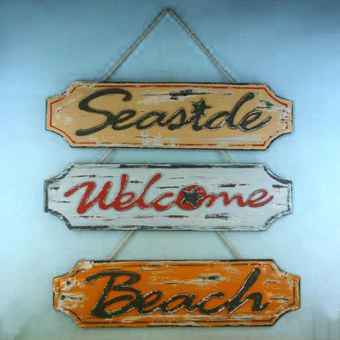 "Wooden Weathered Seaside Welcome Beach Plaque  23"" - Set of 3 - Peazz.com"