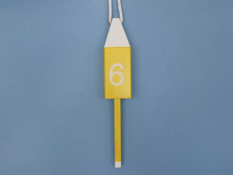 "Handcrafted Model Ships Yellow-Squared-15 Wooden Yellow Number 6 Squared Buoy 15"" - Peazz.com"