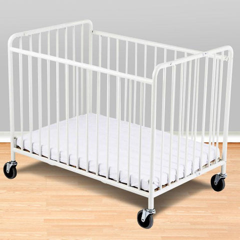 "Foundations Compact StowAway™ Folding Crib w/ 2"" Foam Mattress - White - 1231090 - Peazz.com"