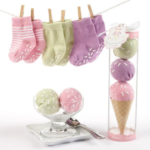"""Sweet Feet"" Three Scoops of Socks Gift Set (Pink) - Peazz.com"