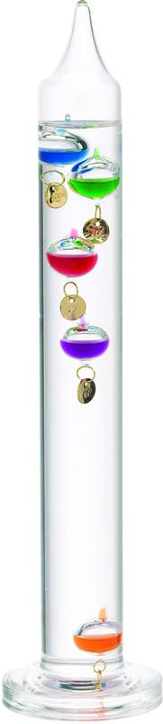 11 Inch Liquid Galileo Thermometer with Five Multi Color Floats and Gold Tags