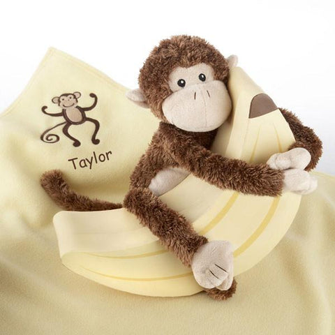 "Plush ""Monkey Magoo and Blankie Too!"" in Keepsake Banana Gift Box (Personalization Available) - Peazz.com"