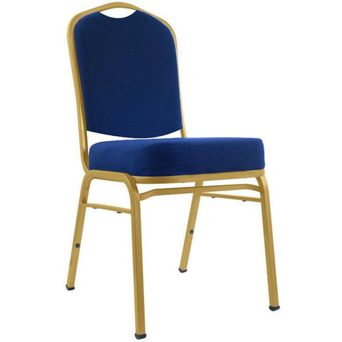 Deluxe Padded Metal Poker Chair - Blue Upholstery - Peazz.com