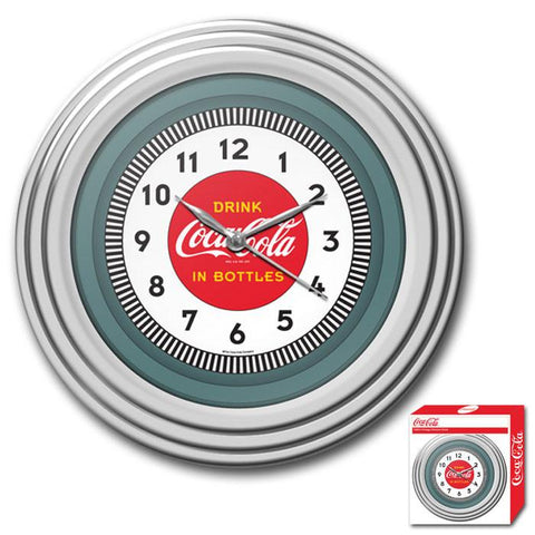 Trademark Commerce COKE-1300-30S Coca-Cola Clock w/Chrome Finish - 1930s Style - 11.75 inches - Peazz.com