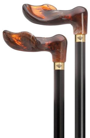 Harvy Unisex Amber Palm Grip Cane - Peazz.com