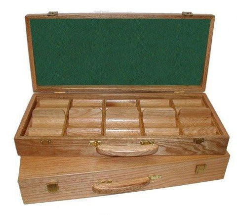 Trademark Poker 1133988 Oak 500 Chip Capacity Case - Wood - Peazz.com