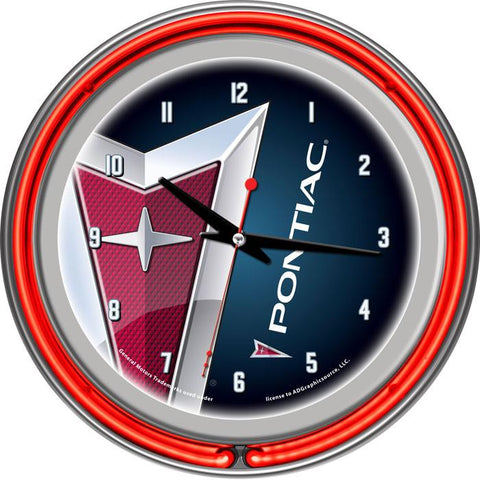 Gm1400-Pc Pontiac Chrome Double Ring Neon Clock - Peazz.com