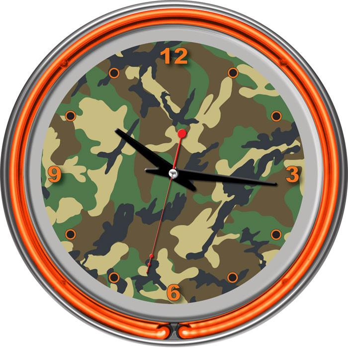 Image of Adg Source Hunt1400-Camo Hunt Camo Chrome Double Ring Neon Clock