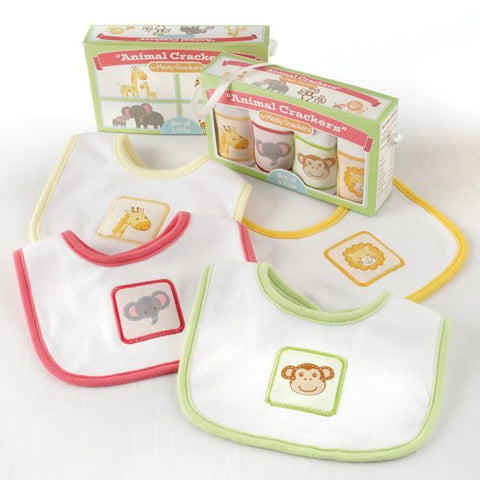 """Animal Crackers for Messy Snackers"" 4-Piece Bib Set - HomeGoodsCenter"
