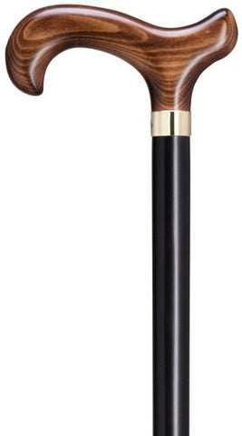 Harvy Men's Dark Scorched Derby Handle with Black Stained Shaft & Brass Band Cane - Peazz.com