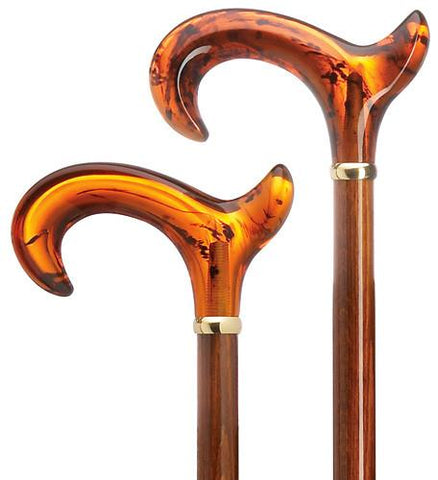 Harvy Men's Anatomical Amber/Cherry Acrylic Derby Cane - Peazz.com