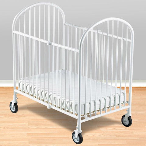 "Foundations Compact Pinnacle™ Folding Crib w/ 4"" Foam Mattress - White - 1331097 - Peazz.com"