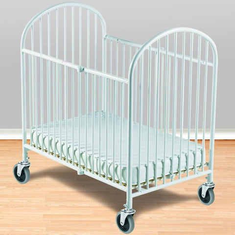 "Foundations Compact Pinnacle™ Folding Crib w/ 4"" Innerspring Mattress - White - 1331107 - Peazz.com"