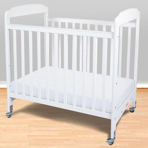 Foundations Serenity Compact Fixed-Side w/ Adjustable Mattress Board, Clearview - White - 1732120 - Peazz.com