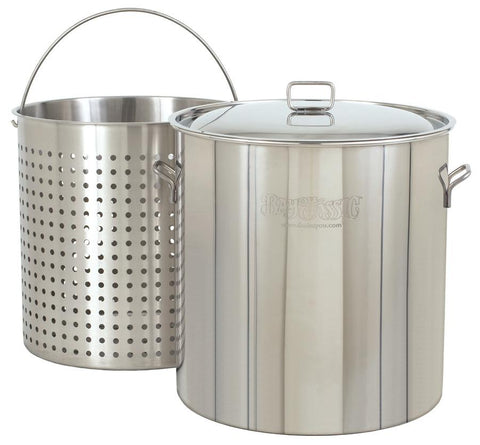 Bayou Classic 102 Quart Stainless Steel Stockpot And Basket Set - Peazz.com