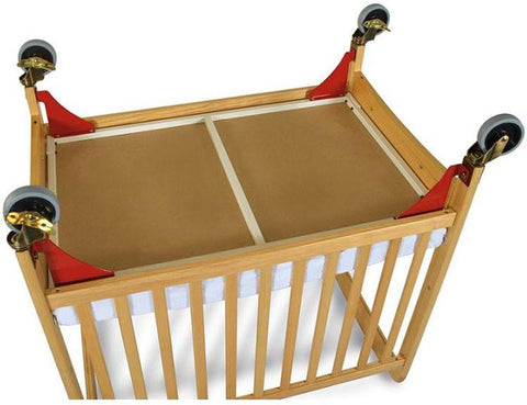 Foundations First Responder Evacuation Frame w/ Chrome Casters for White Cribs (fits SafetyCraft, Serenity & Biltmore Compact Cribs) - Red/Chrome Casters - 1961077 - Peazz.com