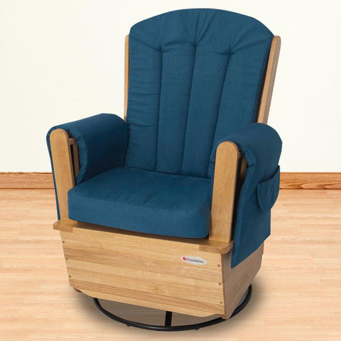 Foundations SafeRocker SS™ Swivel Glider - Natural/Blue - 4303046 - Peazz.com