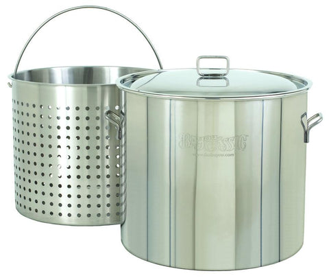 Bayou Classic 122 Quart Stainless Steel Stockpot And Basket Set - Peazz.com
