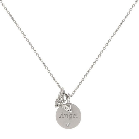 Angel Wings Necklace with Round Cut Clear CZ with Angel Script and Angel Wing Charms in Silver Tone - Peazz.com