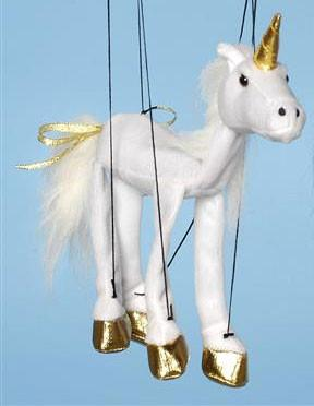 "16"" White Unicorn Marionette Small - Peazz.com"