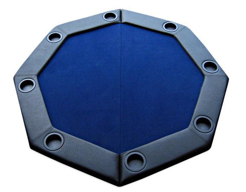 Padded Octagon Folding Poker Table Top w/ Cup Holders - Blue - Peazz.com