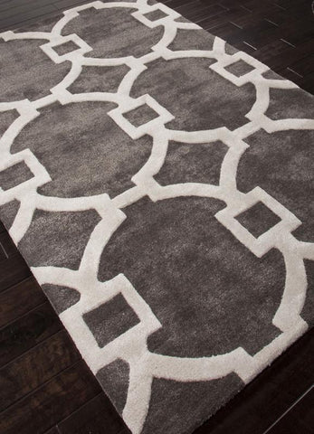 Jaipur Rugs RUG113729 Hand-Tufted Geometric Pattern Wool/ Art Silk Gray/Ivory Area Rug ( 2.6x10 ) - Peazz.com