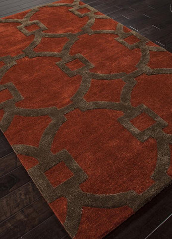 Jaipur Rugs RUG113743 Hand-Tufted Geometric Pattern Wool/ Art Silk Red/Brown Area Rug ( 2.6x10 ) - Peazz.com