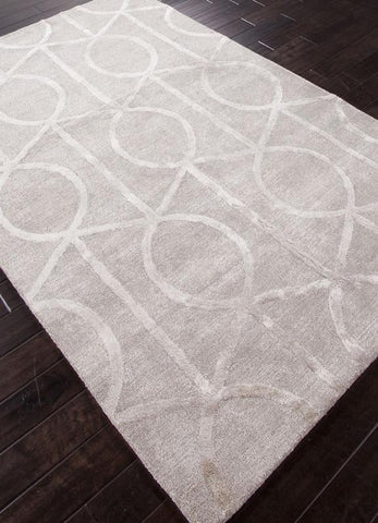 Jaipur Rugs RUG113744 Hand-Tufted Geometric Pattern Wool/ Art Silk Taupe/Ivory Area Rug ( 2.6x8 ) - Peazz.com