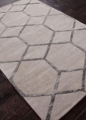 Jaipur Rugs RUG113741 Hand-Tufted Geometric Pattern Wool/ Art Silk Taupe/Gray Area Rug ( 2.6x8 ) - Peazz.com
