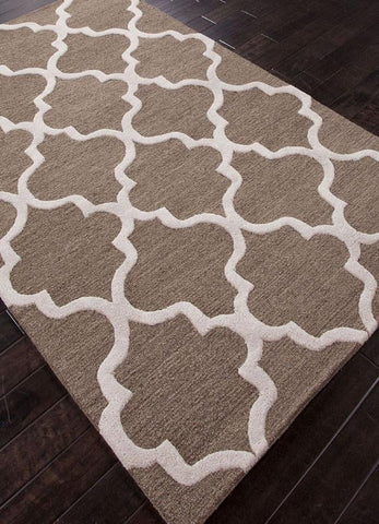 Jaipur Rugs RUG113739 Hand-Tufted Geometric Pattern Wool Brown/Ivory Area Rug ( 2.6x10 ) - Peazz.com