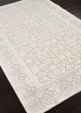 Jaipur Rugs RUG101561 Machine Made Oriental Pattern Art Silk/ Chenille Taupe/Ivory Area Rug ( 2x3 ) - Peazz.com - 1