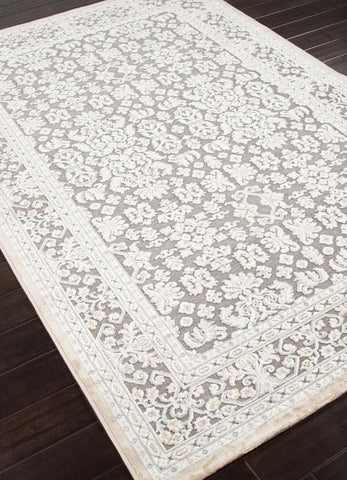 Jaipur Rugs RUG101565 Machine Made Oriental Pattern Art Silk/ Chenille Gray/Ivory Area Rug ( 2x3 ) - Peazz.com - 1