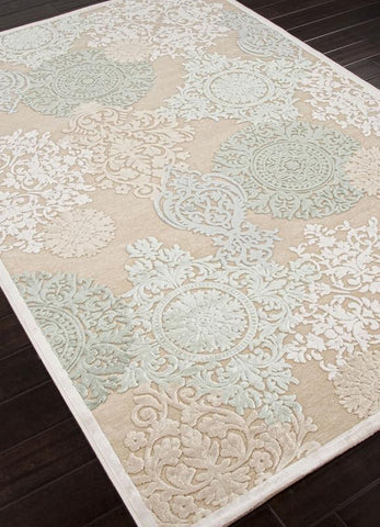 Jaipur Rugs RUG101609 Machine Made Floral Pattern Art Silk/ Chenille Ivory/Blue Area Rug ( 2x3 ) - Peazz.com - 1