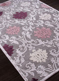 Jaipur Rugs RUG101638 Machine Made Floral Pattern Art Silk/ Chenille Gray/Purple Area Rug ( 5x7.6 ) - Peazz.com - 1