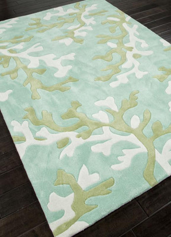 Jaipur Rugs RUG113746 Hand-Tufted Coastal Pattern Polyester Blue/Ivory Area Rug ( 2.6x8 ) - Peazz.com