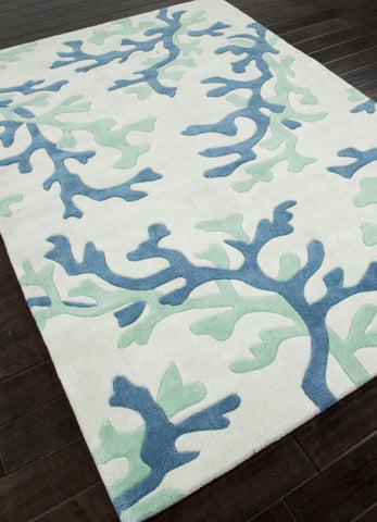 Jaipur Rugs RUG113748 Hand-Tufted Coastal Pattern Polyester Ivory/Blue Area Rug ( 2.6x8 ) - Peazz.com