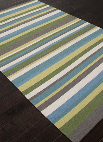 Jaipur Rugs RUG112713 Flat-Weave Durable  Wool Green/Blue Area Rug ( 8x10 ) - Peazz.com