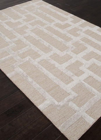 Jaipur Rugs RUG113654 Hand-Tufted Geometric Pattern Wool/ Art Silk Taupe/Gray Area Rug ( 9.6x13.6 ) - Peazz.com