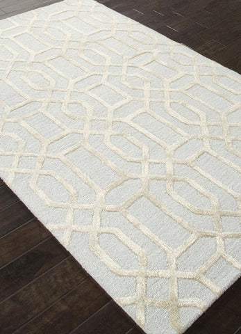 Jaipur Rugs RUG113658 Hand-Tufted Geometric Pattern Wool/ Art Silk Blue/Gray Area Rug ( 9.6x13.6 ) - Peazz.com
