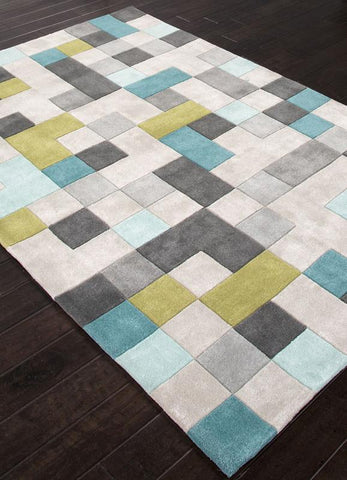 Jaipur Rugs RUG113810 Hand-Tufted Durable Polyester Gray/Blue Area Rug ( 7.6x9.6 ) - Peazz.com