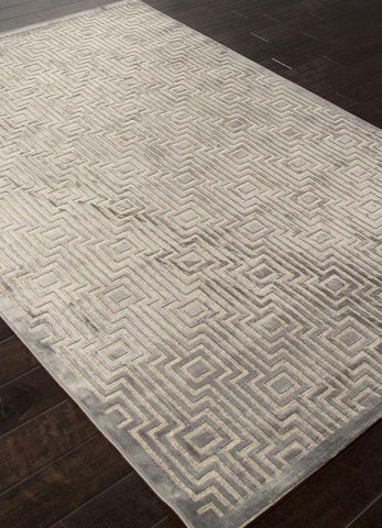 Jaipur Rugs RUG113554 Machine Made Geometric Pattern Art Silk/ Chenille Gray/Tan Area Rug ( 2X3 ) - Peazz.com