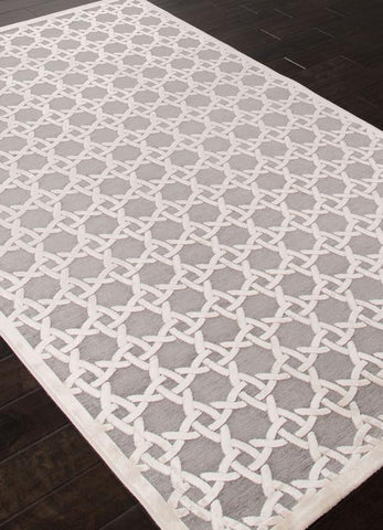 Jaipur Rugs RUG111964 Machine Made Lustrous Finish Art Silk/ Chenille Ivory/Gray Area Rug ( 2X3 ) - Peazz.com